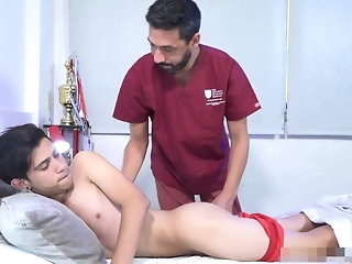 old+young Sports doctor provide talented painkiller bareback